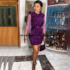 Purple Paillettes Pizzo Breve Prom Dress Dress Tassel Mini Dress da sera Princess Party Gown Made Cocktail Club Wear