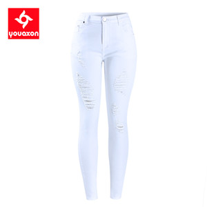 2067 Youaxon AB Boyutu Beyaz Sıkıntılı Kıvrımlı Kadınların Orta Yüksek Bel Streç Kot Pantolon Kadın Jean için Skinny Jeans Yırtık