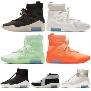 Mens Designer basquete sapatos medo de deus 1 triplo branco preto laranja amarillo fosco spruce vela shoot em torno de sneakers esportivos 36-46