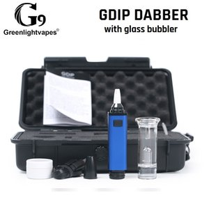 Original G9 Greenlightvapes Gdip Dabber Portable Mini Dab Rig 1000mAh ENail Collector Straw with Glass Bubbler Water Pipe