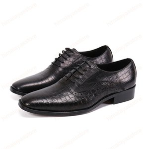 Fashion Genuine Leather Men Dress Shoes British Style Office Business Formal Oxford Black Shoes Wedding Lace Up Brogue Men Shoes