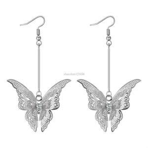 3D butterfly earrings silver diamond earrings women long Dangle Chandelier ear cuff fashion jewelry will and sandy gift