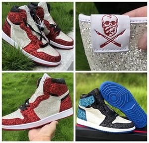 Top Quality Jumpman 1 The North Pole Chicago por el cirujano de zapatos 2020 nuevos hombres zapatos de baloncesto para mujer rojo azul diamante cristalizado