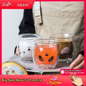 Lindo oso en forma de pared de doble pared tazas de cristal resistente kungfu té leche limón jugo de limón taza de bebida bebida niño amante tazas taza regalo q1218