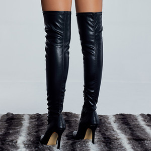 Women Over The Knee Thigh High Boots Fetish 11cm High Heels Leather Stripper Long Boots Combat Winter Knight Sexy Shoes