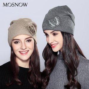 MOSNOW 2020 Cappelli Della donna lana farfalla Strass di alta qualità Autunno Inverno maglia Beanie Cappello femminile Cappelli Caps # MZ718