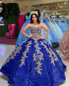 Sparkle Sequined Royal Blue Quinceanera Dresses Lace Applqiue Sweet 16 lace-up corset Prom Gowns vestidos de 15 años xv dress