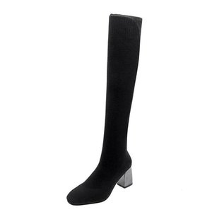 Knitting Socks Slip On Heels Over The Knee Long Boots Femmes Chaussures Stretch Fabric Thigh High Shoes For Women 2020