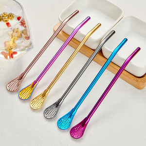 Stainless Steel Mate Straws Mate Bombillas Yerba Filter Drinking Mixing Spoon Straw Filter Spoon Free DHL