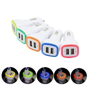 Led Car Charger Dual Usb Car Charger Vehicle Portable Power Adapter 5V 1A For iPhone For Android For Mobile Phone