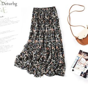Skirts Women's Elegant Ditsy Floral Print Chiffon Skirt With Liner Female High Quality Waist Ruffled Midi 2021 Summer SK5361