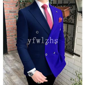 Popular Double-Breasted Groomsmen Peak Lapel Groom Tuxedos Men Suits Wedding Prom Best Man Blazer ( Jacket+Pantst+Tie) Y208