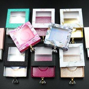 1 PC Glitter Crystal Punho Caixa De Embalagem Vazia Cílios Falsos Com Bandeja Transparente Quadrado Caixa Lash 3D Lashes Maquiagem Caso