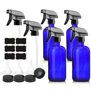 4-Pack 500ml leer blaues Glas Sprühflasche mit Trigger-Sprayer Tafel Etikett Lagerung Cap für Essential Oil Hausgemachte Cleaners