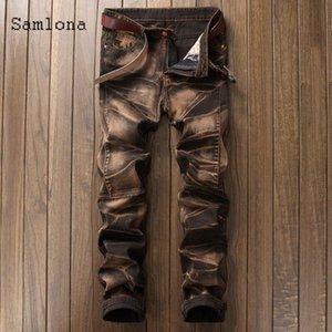 Samlona uomini jeans pantaloni denim 2021 primavera autunno dimagrante bottoms pantalone maschile patchwork jeans jeans matita pantaloni da uomo abbigliamento da uomo