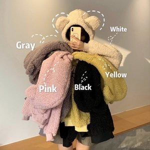 QRWR 2020 Women Hoodie Korean Style Winter Casual Cute Kawaii Warm Sweatshirt Loose Female Pocket Oversized Hoodies for Girls Y1116