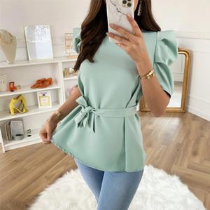 Summer Women Blouses Casual O Neck Puff Short Sleeve Chiffon Shirts 2020 Elegant Solid Loose Female Bow Bandage Ladies Green Top