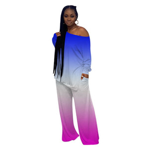 Loose Womens Designer Tracksuits Gradient Contrast Color Long Sleeve Long Wide Legged Pants 2PCS Suits Womens Tie Dye Clothing