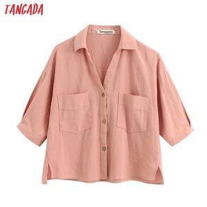 Tangada women summer loose shirts loose long sleeve solid ladies casual blouses BE345 201201