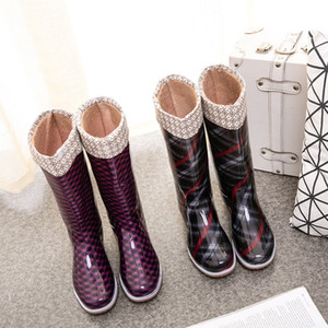 SWYIVY RIANBOOTS Yüksek Kış Sıcak Su Geçirmez Ayakkabı için 2020 Yeni Uzun Boylu Yağmur Çorap Kadın PVC Çizmeler Ile Q1216