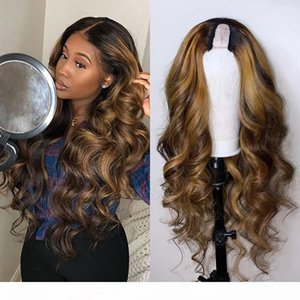 Brazilian Highlight Ombre Human Hair U part Wigs for Black Women 150Density Non Lace Remy Hair Wigs Middle Open Upart Wigs