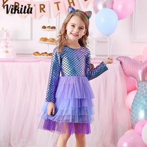 VIKITA Girl Princess Dress Autumn Wedding Birthday Party Tutu Vestidos Kids Dresses For Girls Children Christmas Costumes 201202