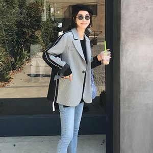 Women Vintage Patchwork Blazer Color Matching Women Blazers Jackets Casual Plaid Womens Blazers Long Sleeve 202 New Clothing