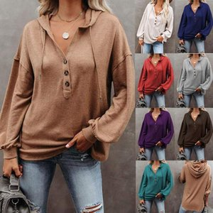 Women Casual Oversize Harry Styles Solid Hooded Hoodie Loose Long Sleeve Elegant Shirts V Neck Office Lady Sexy Autumn Blouse