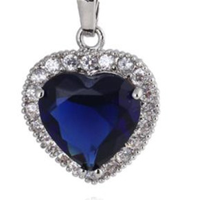 Heart choucong Unique Brand New Luxury Jewelry 925 Sterling Silver Big Blue Sapphire CZ Diamond Party Chain Pendant Necklace 69 L2
