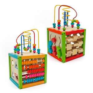Multicolor 5 in 1 Wooden Bead Maze Activity Cube Multifunction Center Kids Educational Toys Children Christmas Gifts