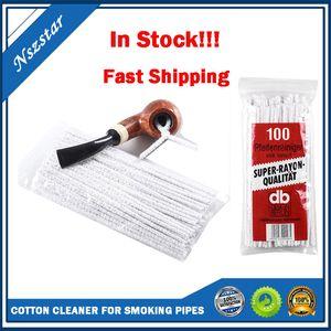 Nouveau 100pcs Coton Tobacco Tabac Tuyau de nettoyage Outil de nettoyage de la fumée pour nettoyage brosse Nettoyant absorbant de tuyau absorbant non blanchi