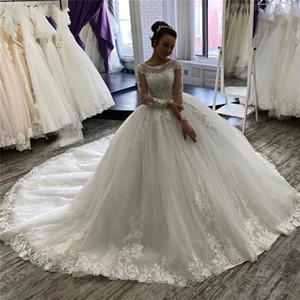 Arabic Long Sleeves Ball Gown Lace Wedding Dresses with Beaded Appliques Jewel Neck Court Train Tulle Plus Size Bridal Gowns vestidos de nov