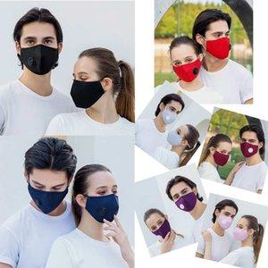 Face Mask Designer Face Masks Anti-Fog PM2.5 Máscara de algodão de filtro com válvula respiratória Negra Boca da boca Facemask pode ser lavado adulto estéreo