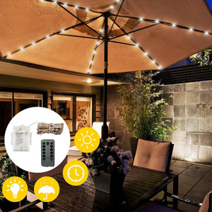 LED Solar Garden Umbrella light Outdoor Waterproof IP65 String Lights Light Sensor Control Garden Decorative Lamp