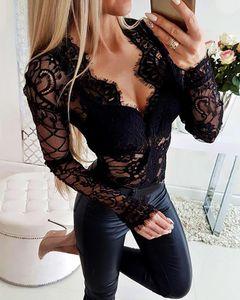 2020 Femmes élégantes Noir Cou Asymétrical Casual Sexy Patchwork Body Body Body Sheer Tyelash Dentelle Body à manches longues