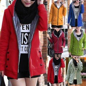 Jacket Women Solid Color Hoodies 2020 Autumn Winter Imitation Lamb Wool Korean Loose Plus Velvet Thick Zipper Sweatshirt Tops