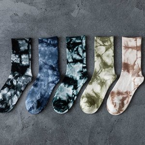 Autumn and winter new mixed high top color fashion hip hop Street tie dyeing personalized skateboarding socks