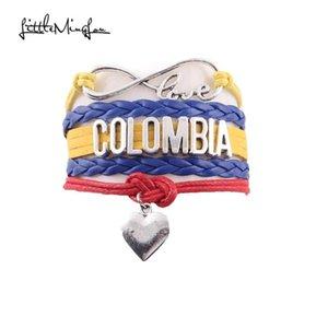 Little Minglou Infinity Liebe Kolumbien Armband Herz Charm Leder Wrap Männer Armbänder Armreifen Für Frauen Schmuck Tourismus Geschenk