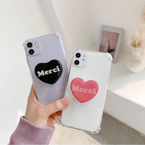 DHL 100pcs Simple love bracket mobile phone shell lazy bracket protective cover anti-fall applicable iPhone11 soft shell iPhone 12 case