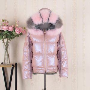 FMFSSOM White Duck Down Big Aritificial Fur Parkas Winter Jacket Women Gold Silver Double Side Coat Female Warm Down Oversize