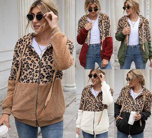 5 colori Sherpa Donna Felpa Leopardo Patchwork Leopardo Inverno manica lunga cerniera a maniche lunghe soffice in pile con cappuccio maglione Cappotto in tasca con tasca