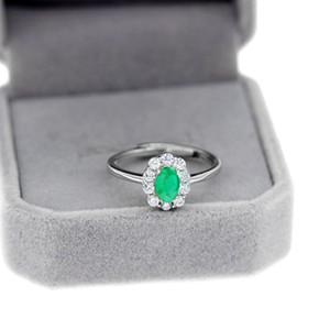 Uloveido Yeşil Zümrüt Yüzük, Çiçek Yüzükler, 925 Ayar Gümüş, Kadınlar Için 4 * 6mm Sertifikalı Taş Nişan Düğün Takı Z1121