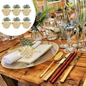 6pcs Diamond Sandkin Anneaux de serviettes Boucles de serviettes Ananas Design Theners1