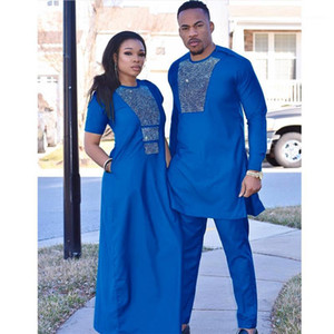 Ethnic Clothing H&D African Couple Clothes Suits Long Dresses For Women Men Dashiki Shirt Pant Set 2021 With Shining Stones1
