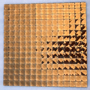 Seamless 20mm 13 beveled Shiny Copper Color Diamond Mirror Glass Mosaic Tile, DIY Bathroom shower wall sticker waistline