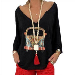 Shirt Women Female Blouse Long Sleeve Plus Size Lady Tops Women Fashion Cartoon Car Print Long Sleeve Deep V Neck Blouse Shirt