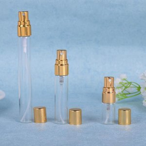 إفراغ 5ML زجاجات 10ML زجاج الجميلة ميست البخاخة مع الذهب أو الفضة قبعات عطر عبوة قابلة للتعبئة كولونيا صب رذاذ زجاجات EWD2999
