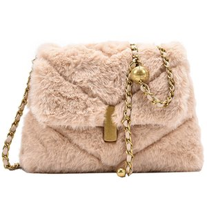 2020 fashion Luxury Feminine Bolsa Faux Fur Bags For Women Winter Handbag Shoulder Crossbody Bag Females Tote Top-handle Bag