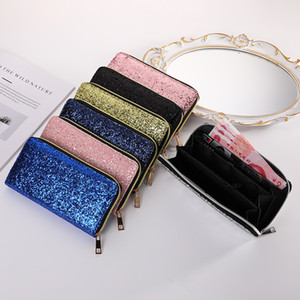 Glitter Wallets Shiny Long Phone Clutch Purse Ladies Card Holder PU Leather Long Checkbook Organizer