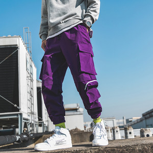 2019 Spring Cargo Pants Uomo cotone con coulisse molte tasche jogging pantaloni Viola Nero caviglia Banded maschile pantaloni casual BINHIIRO X1116